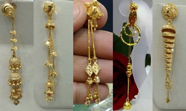 Light weight gold dangling earrings designs