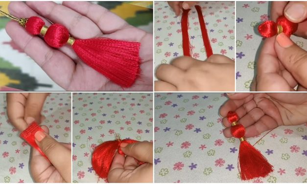 Make perfect decorative tassel from ribbon