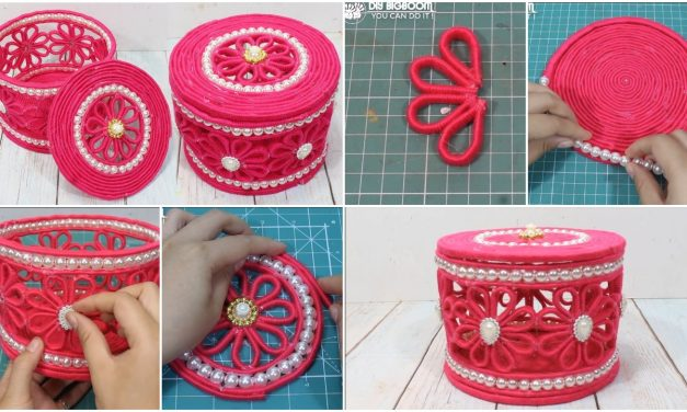 Beautiful jewelry box with woolen and newspaper