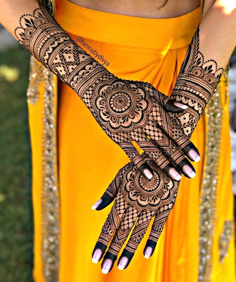 mehndi design simple full hand