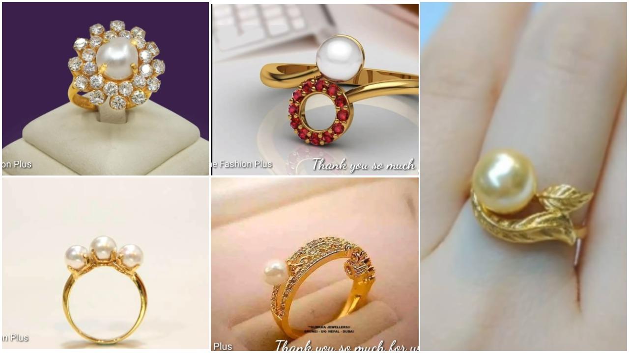 Latest sea pearl gold ring design