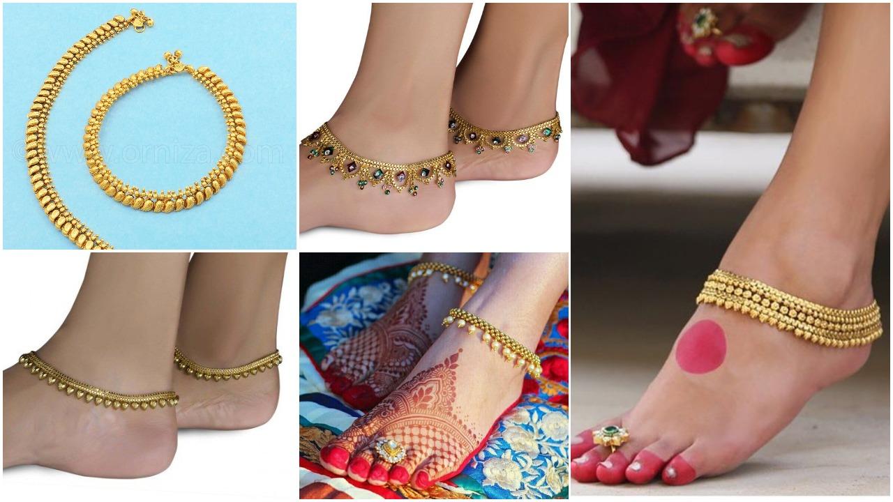 Bride gold anklet design