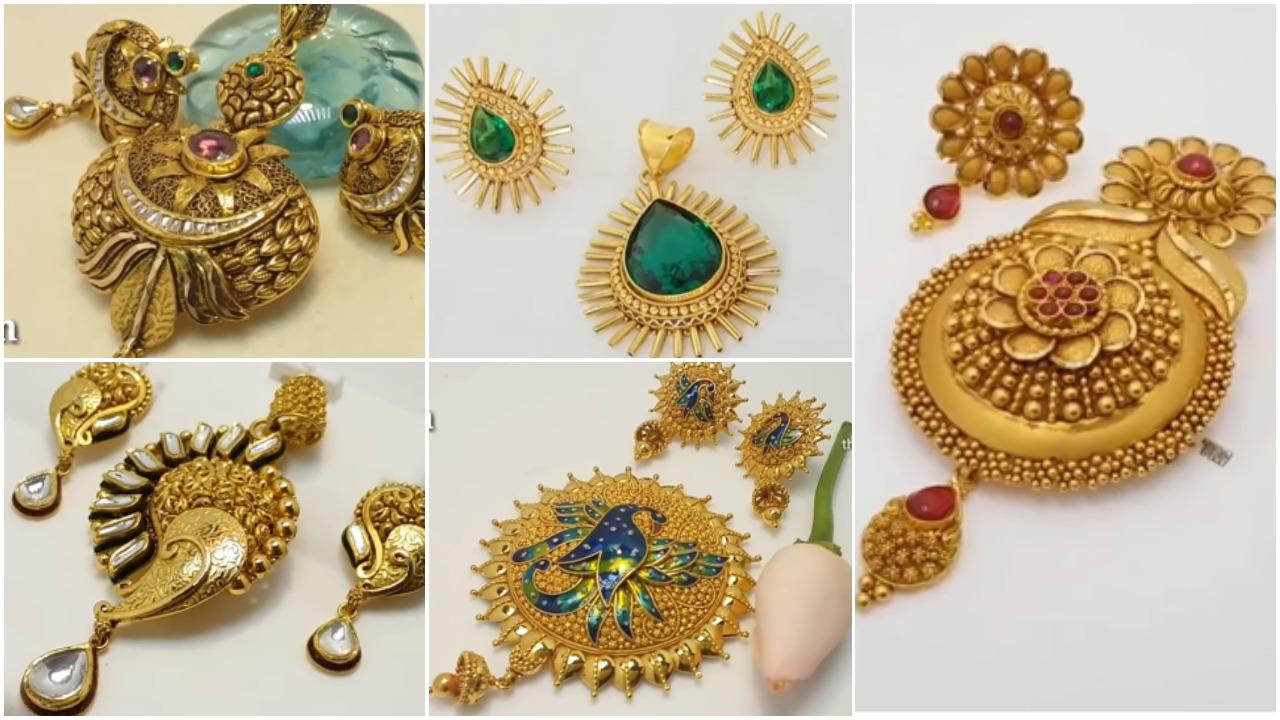 Latest gold pendant set