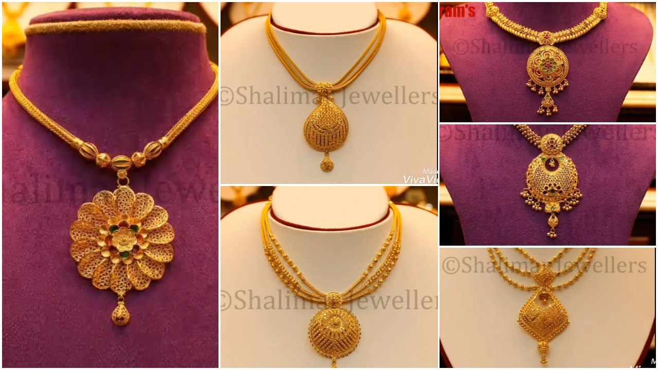 Gold big pendant necklace designs