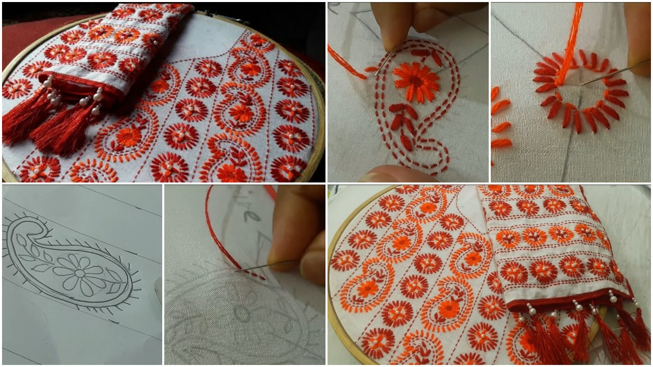 phulkari work design for kurti