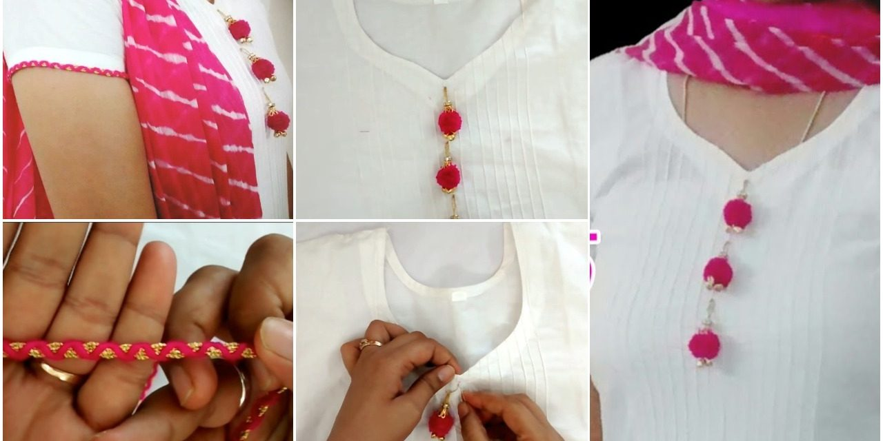 White kurti with pom pom