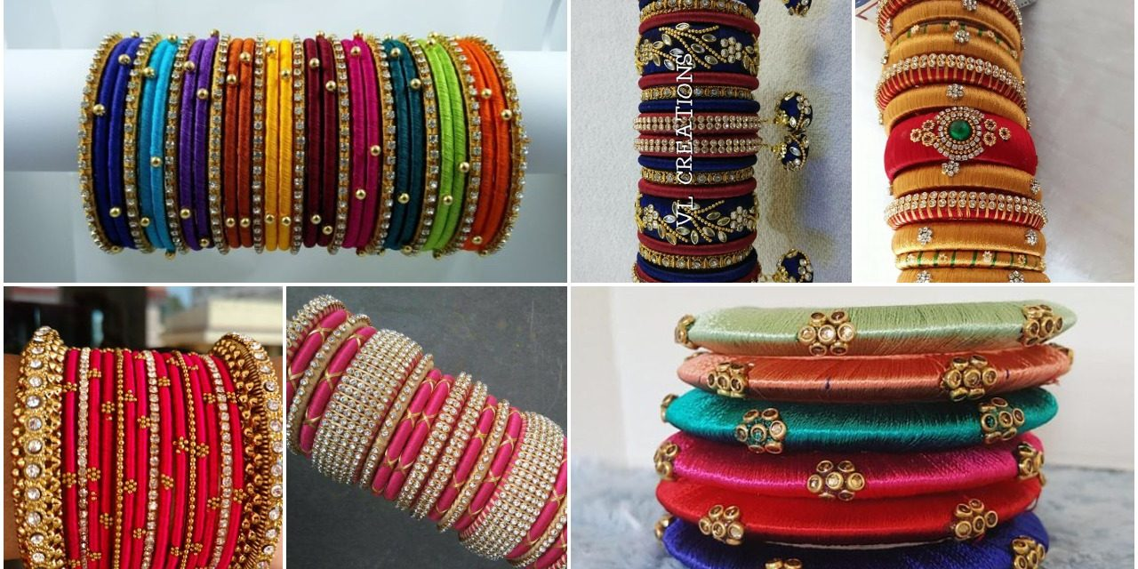 Designer silk thread bangles design