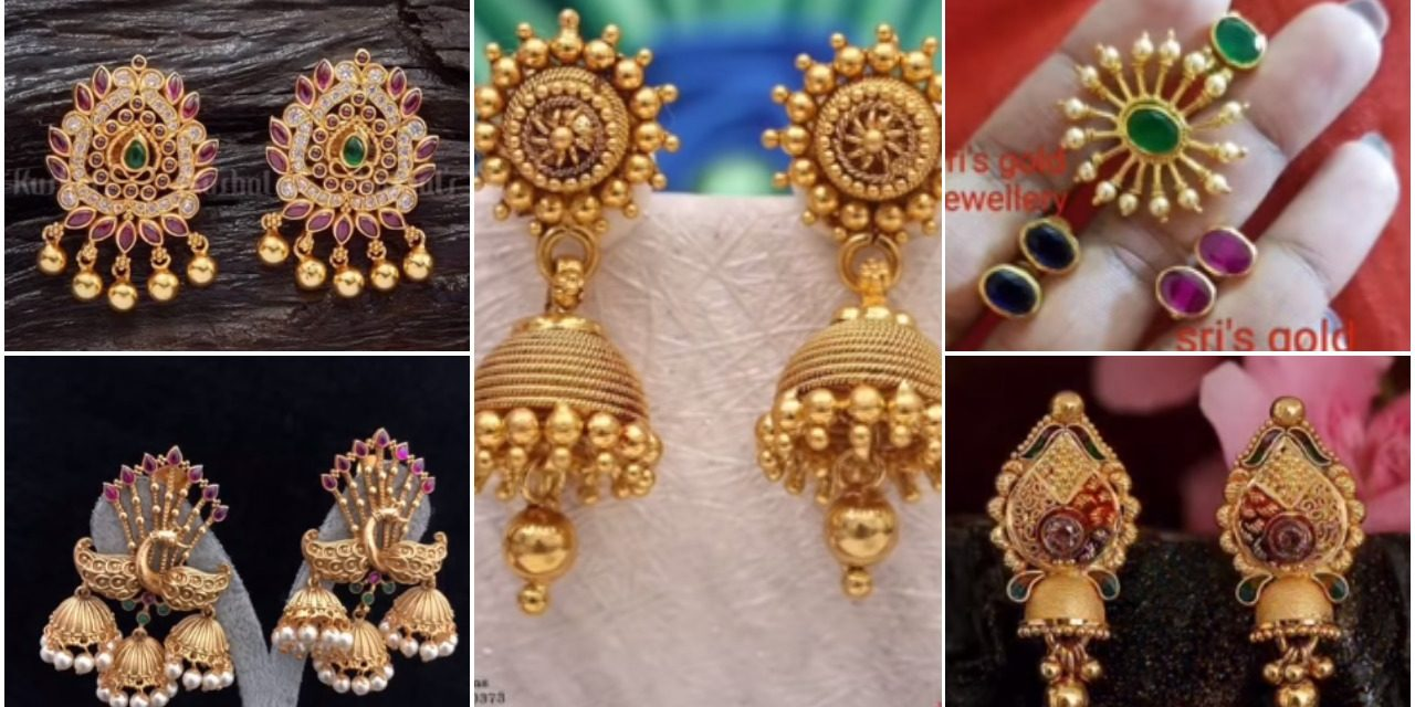 New gold daily wear earring pattern
