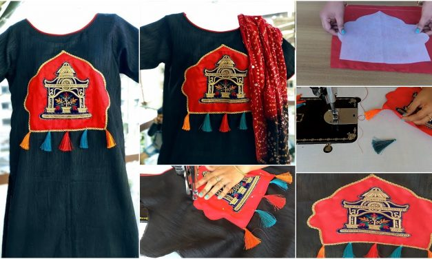 Party wear boat neck kurti with handmade patchwork