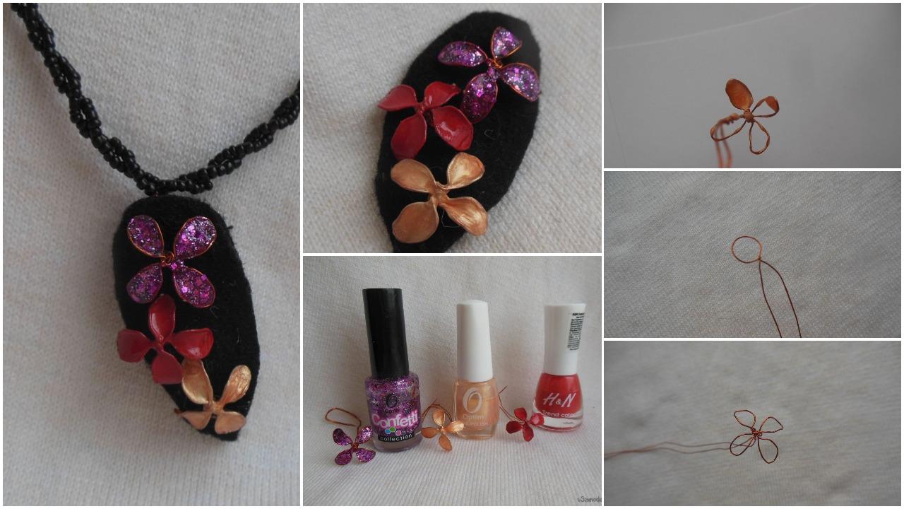 Copper wire and nail polish pendant