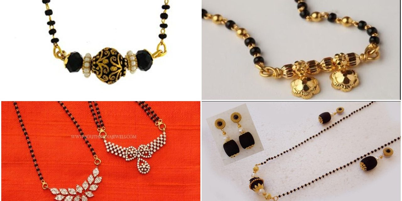 Latest black beads work mangalsutra designs