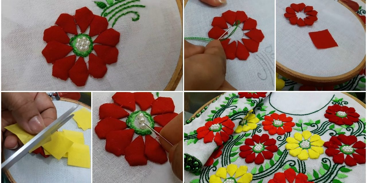 Hand embroidery style stitch for kurthi