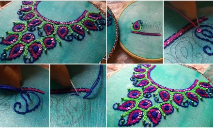 Special floral design for neck and kurti