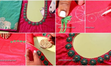 Hand embroidery neck design for silk saree blouse