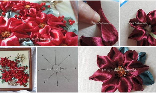 An interesting way of embroidery poinsettia petals