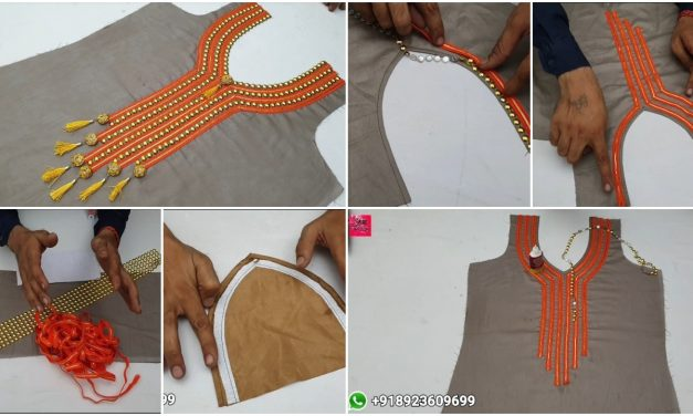 Easy lace front neck design cutting and stitching