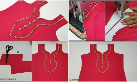 New paan shape piping lace and button neck design
