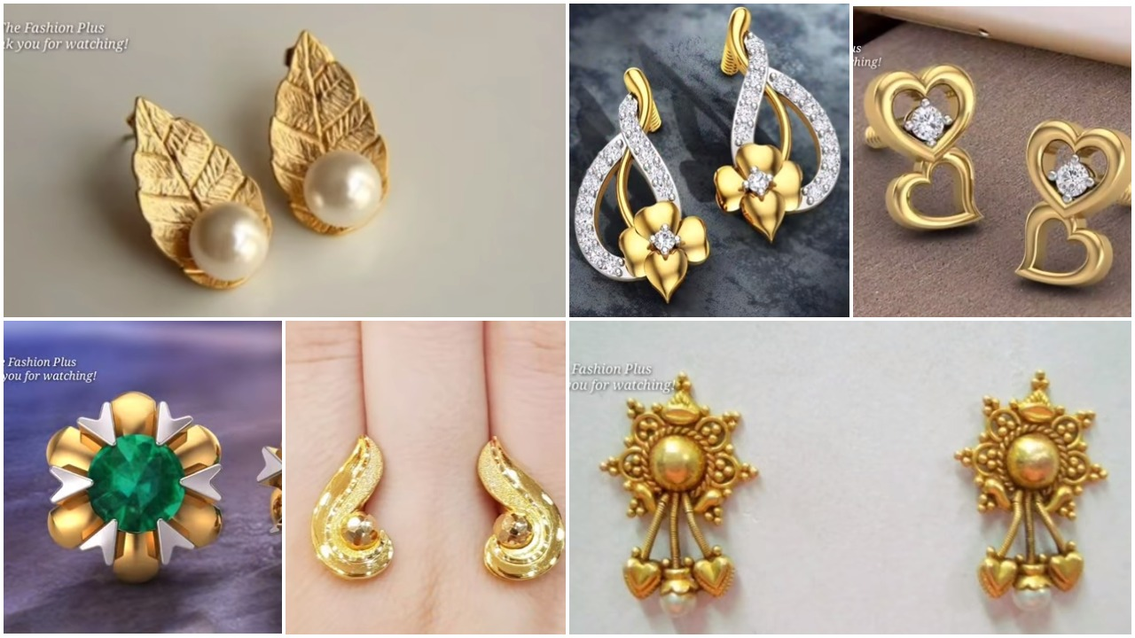 gold ear-studs designs