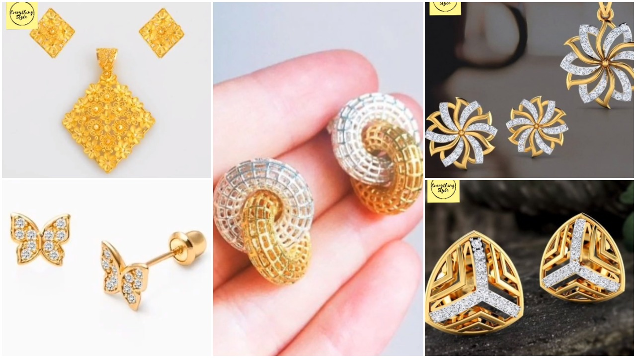 gold stud and earrings designs