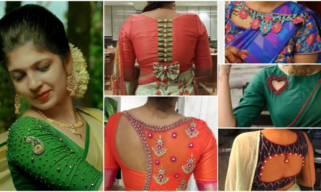 Best stunning latest saree blouse neck design