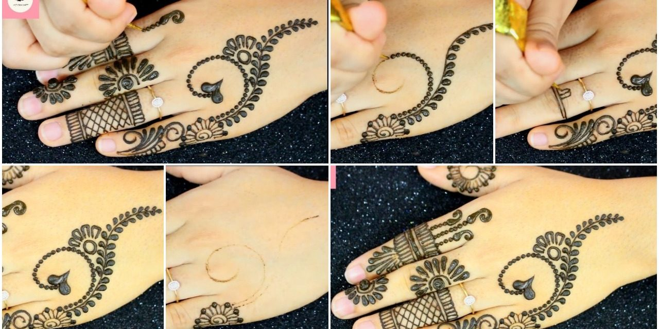 Simple mehndi design back hand