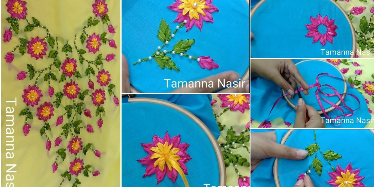 How to create ribon stitch flower and leaf for kurti neck