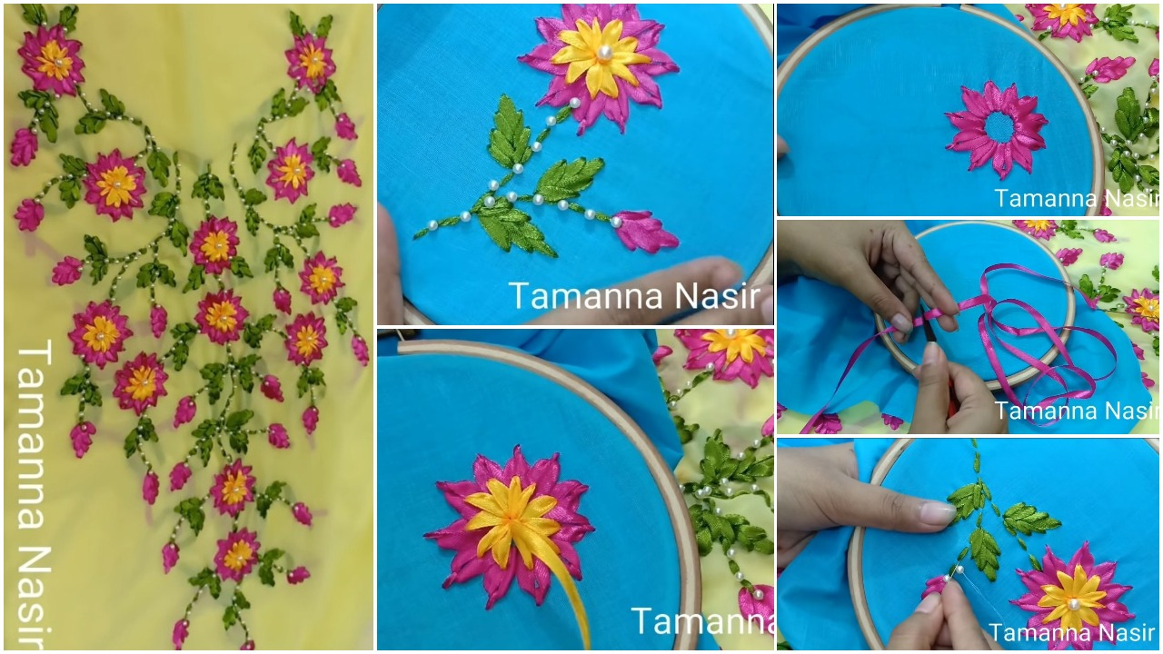 create ribon stitch flower