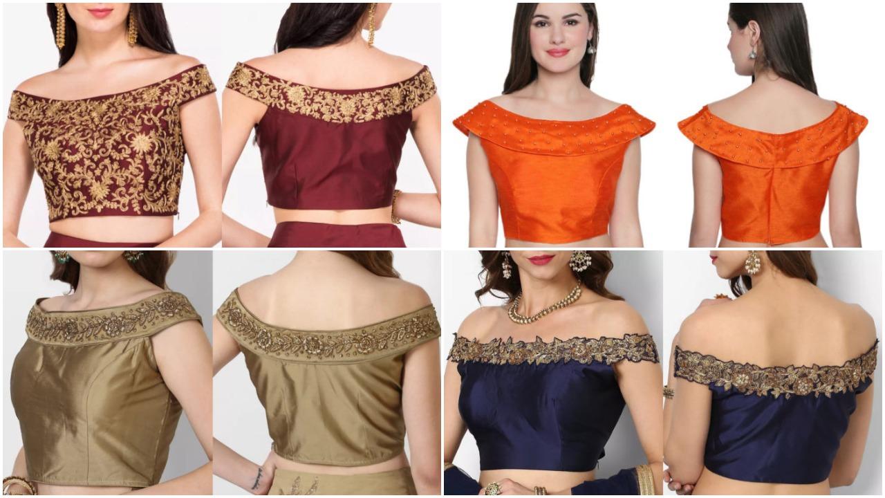 Latest off shoulder blouse designs