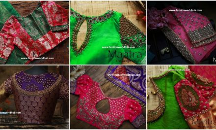 Maggam design work in saree and blouse