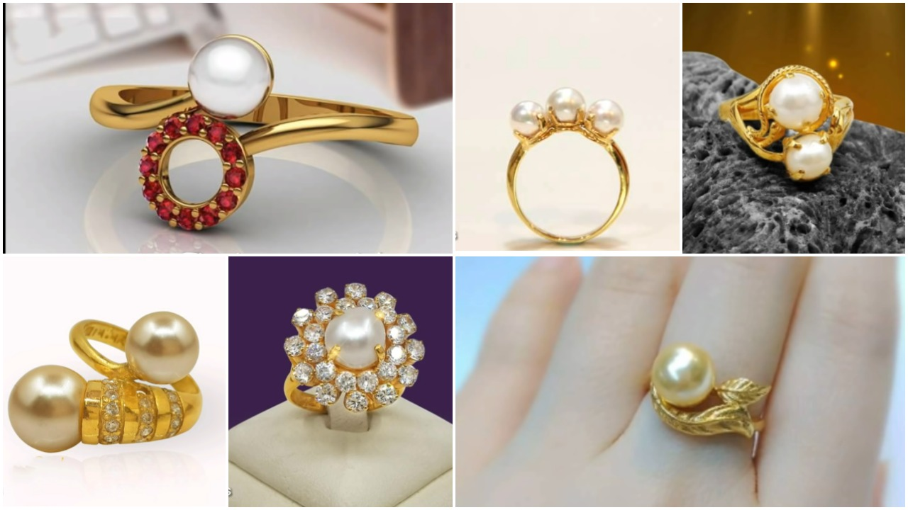 Sea pearl gold ring design