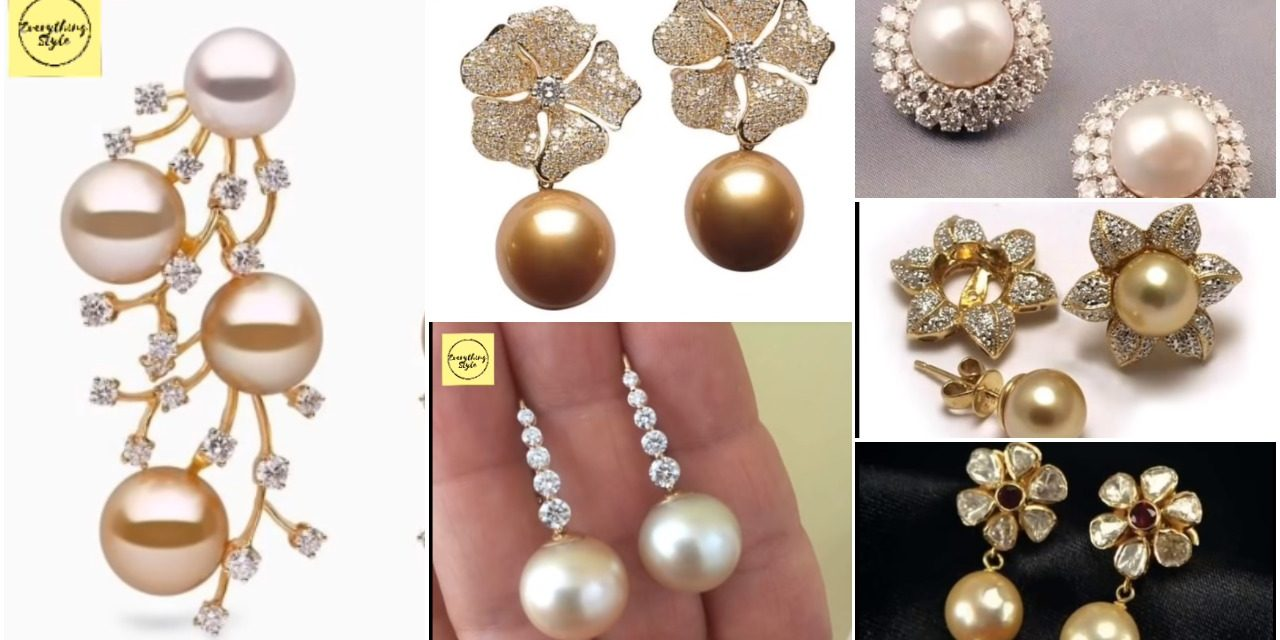 Amazing and beautiful gold stud designs with sea pearl
