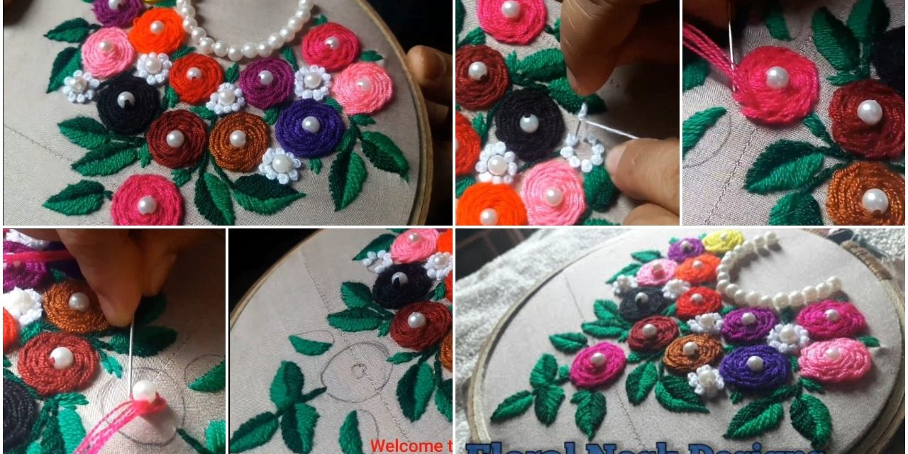Easy hand embroidery design for kurti neck