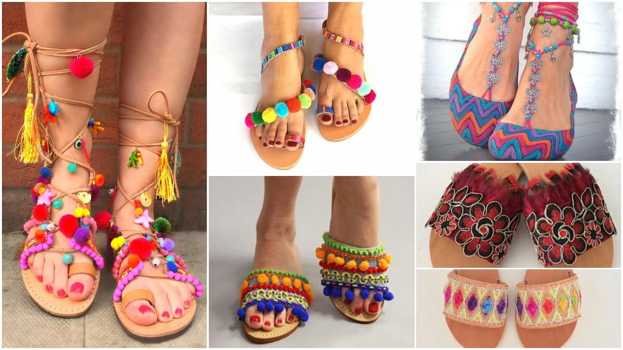 boho sandals with pompom
