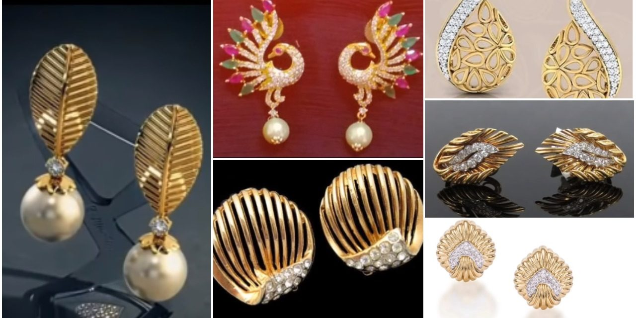 Gorgeous and latest light weight gold stud and gold earrings
