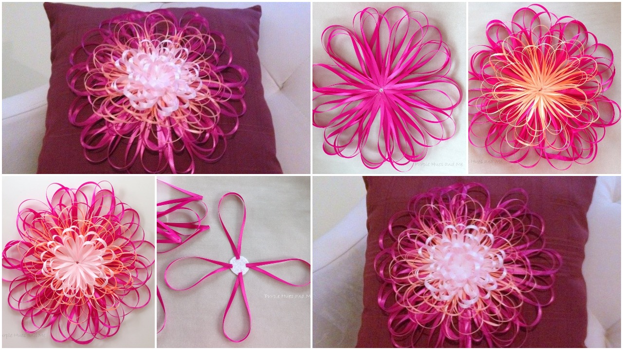 Ribbon flower embellished napkin pillow