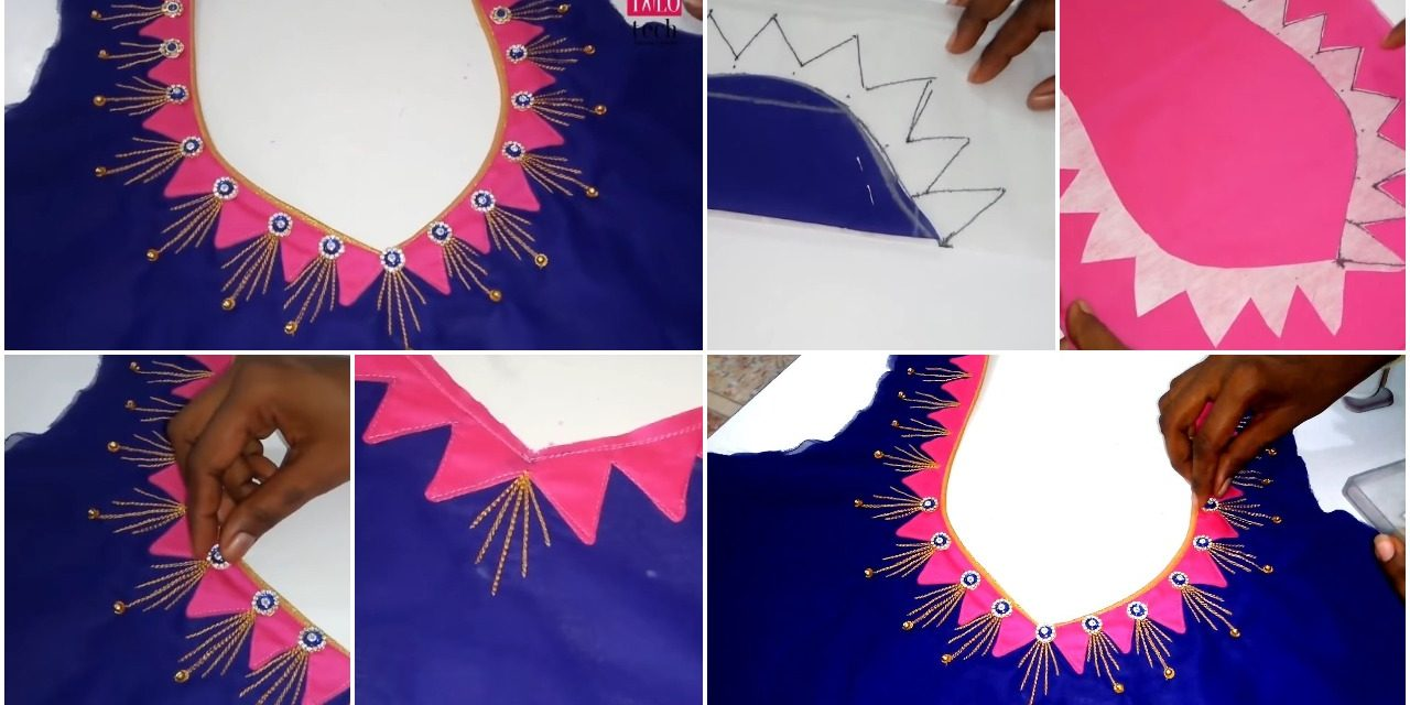 Easy to create grand embroidery blouse design for embroidery saree