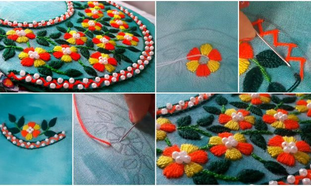 How to make beautiful round neck embroidery designs