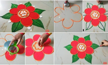 Easy rangoli design with colors