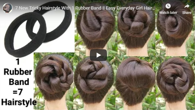 7 New tricky hairstyle with 1 rubber band