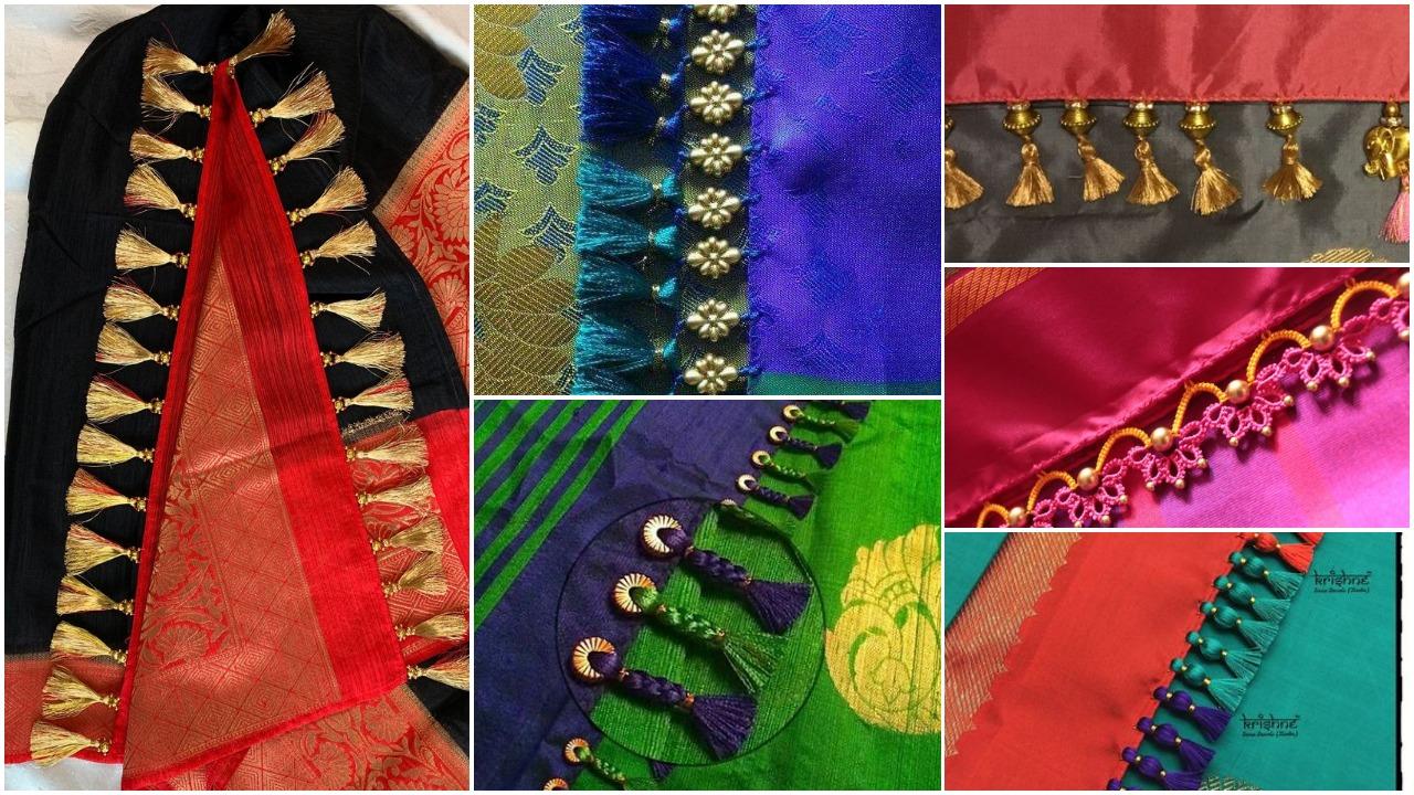 Simple pattu and silk saree kuchu design