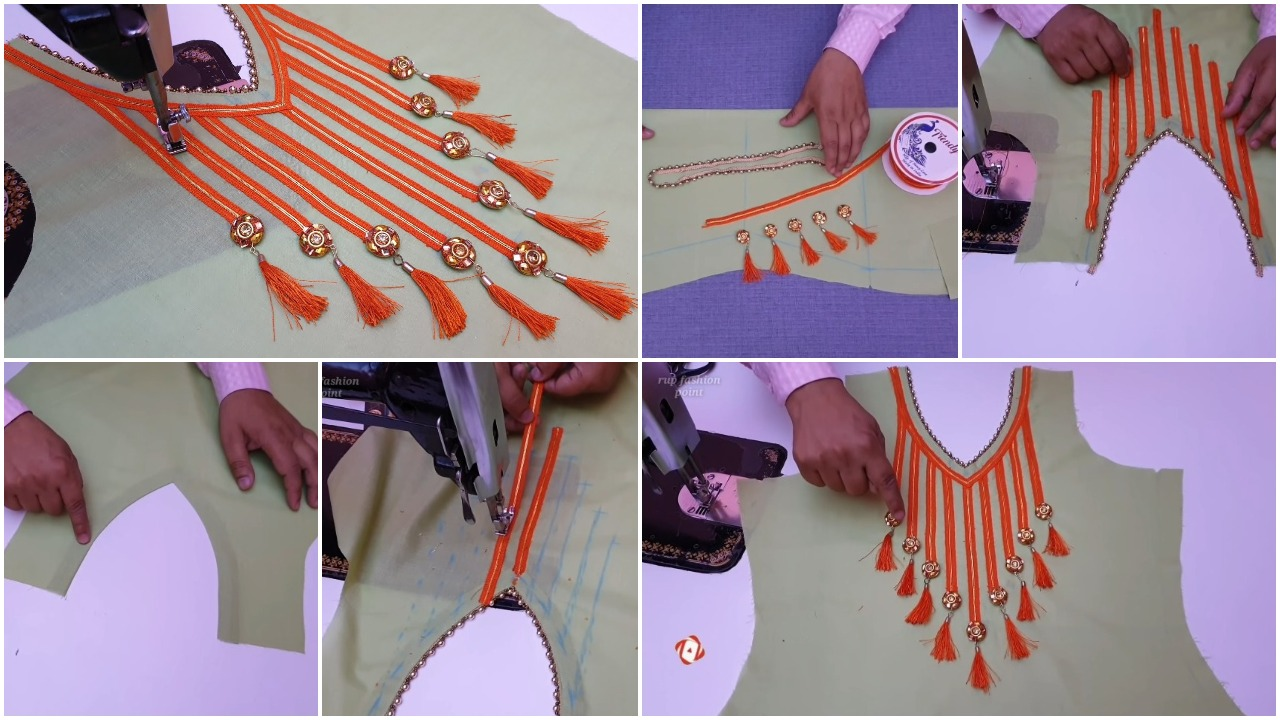 Neck design cutting and stitching