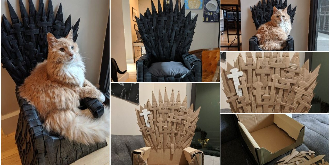 Cardboard iron throne cat bed