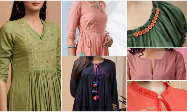 Stylish and fashionable kurti neck and sleeve design