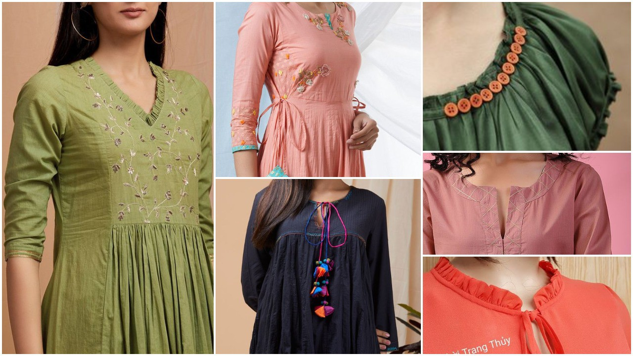 fashionable kurti neck and sleeve design