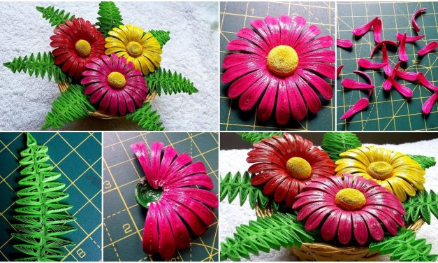 Quilling flower basket
