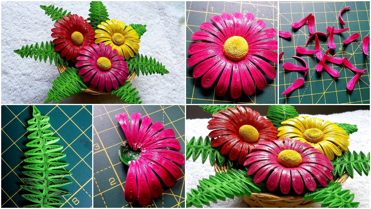 Quilling flower basket