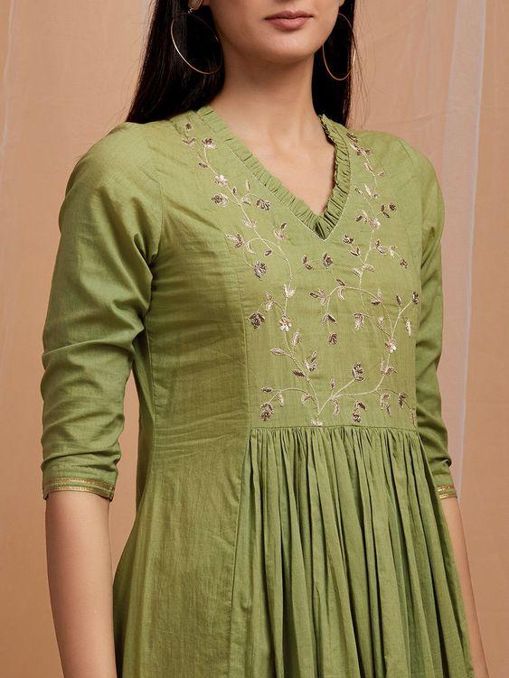 Stylish and fashionable kurti neck 1