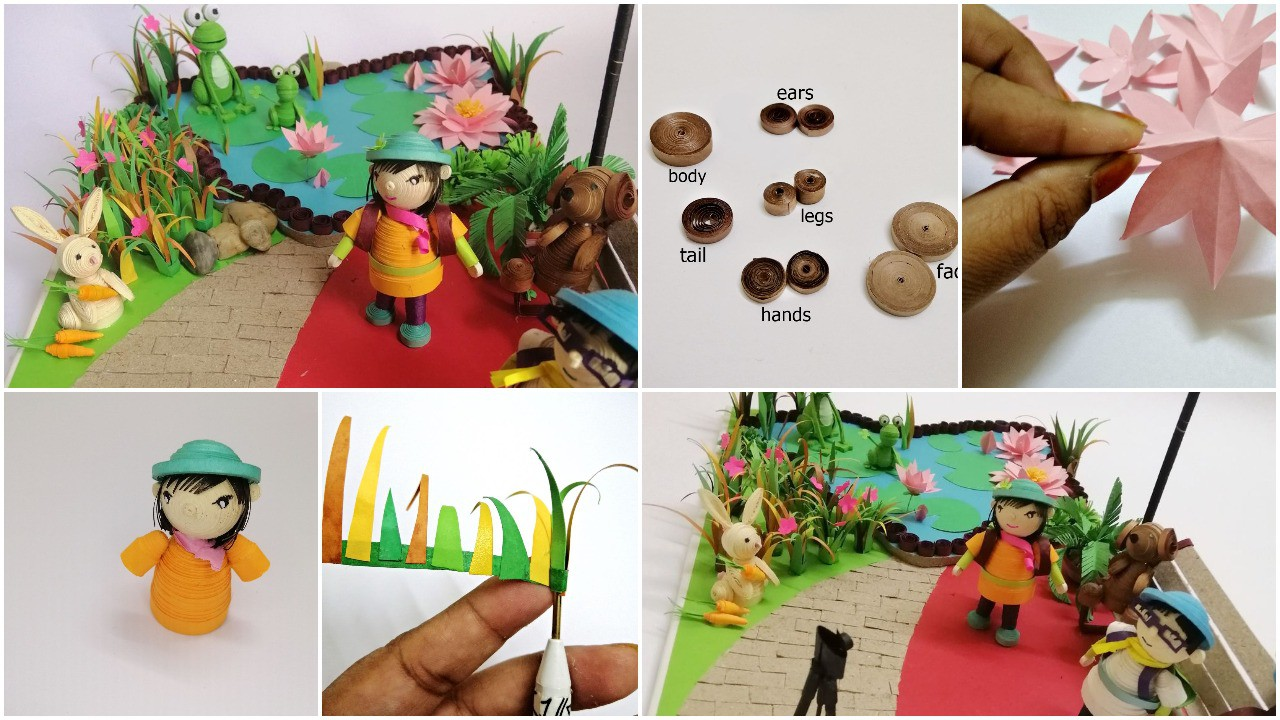 Mini garden with 3D quilling figures