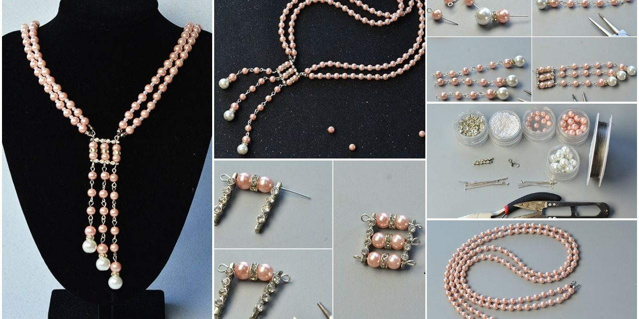 How to make strand pink pearl necklace