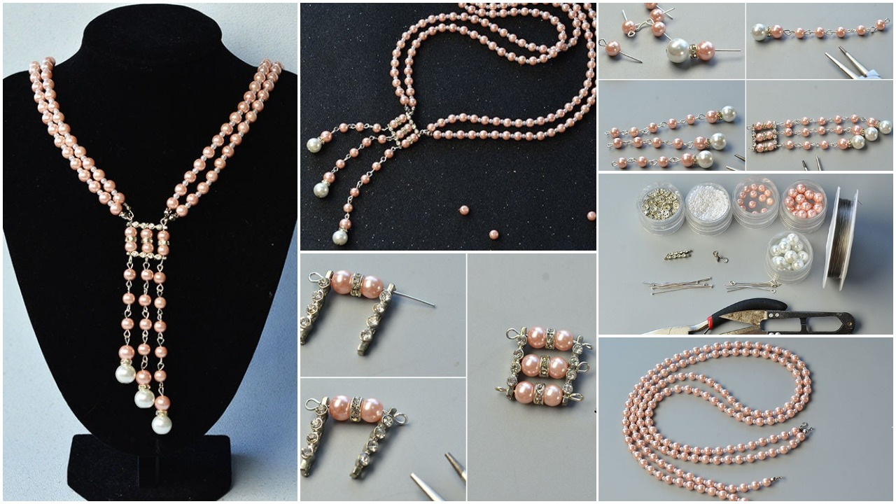 strand pink pearl necklace